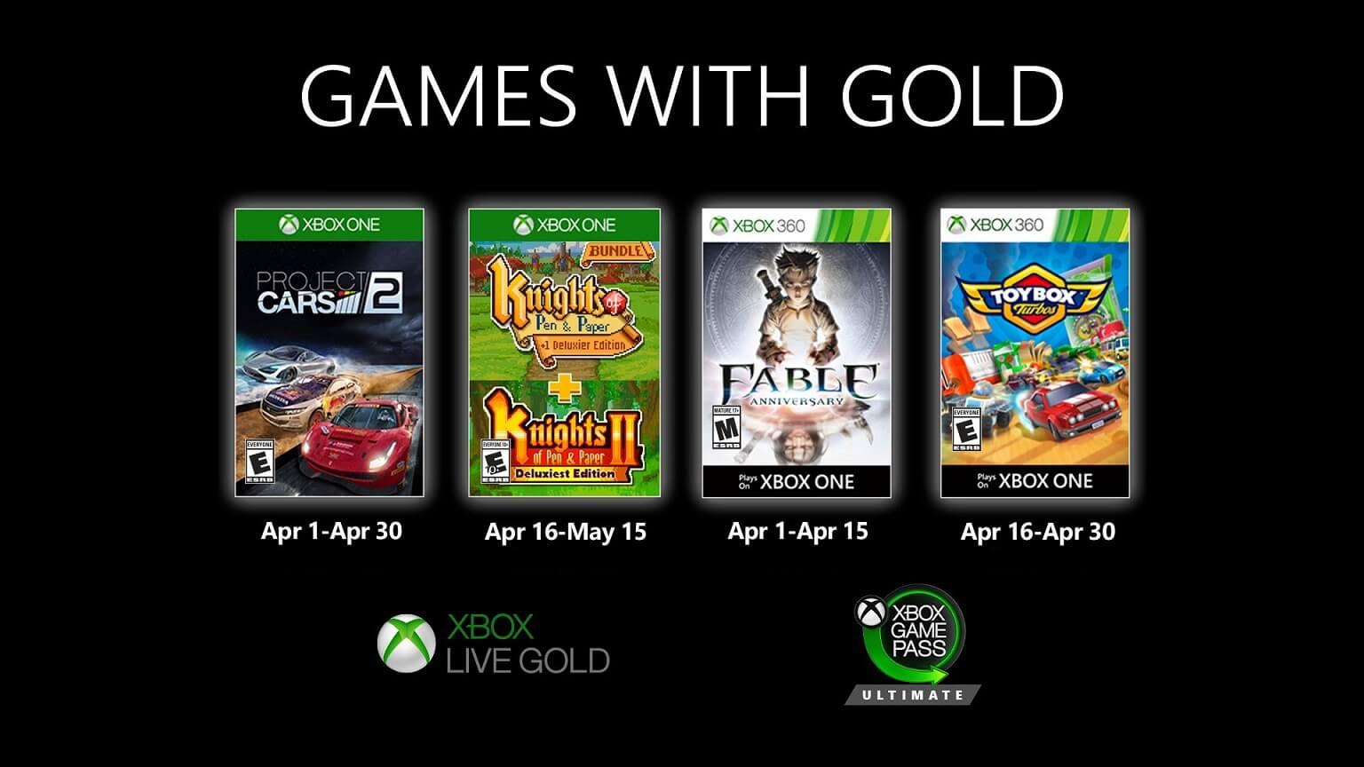 Αυτά είναι όλα τα δωρεάν παιχνίδια των Games with Gold Απριλίου