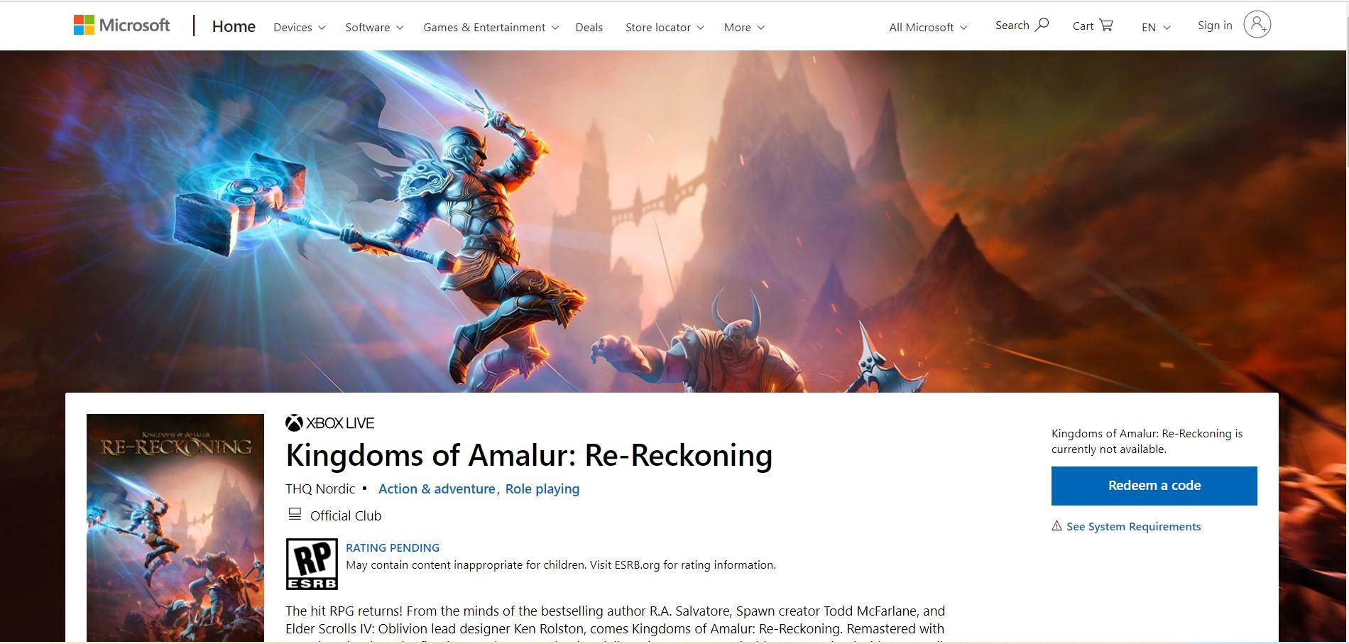 To Remaster του Kingdoms of Amalur : Reckoning έκανε την εμφάνιση του στο XBOX Store