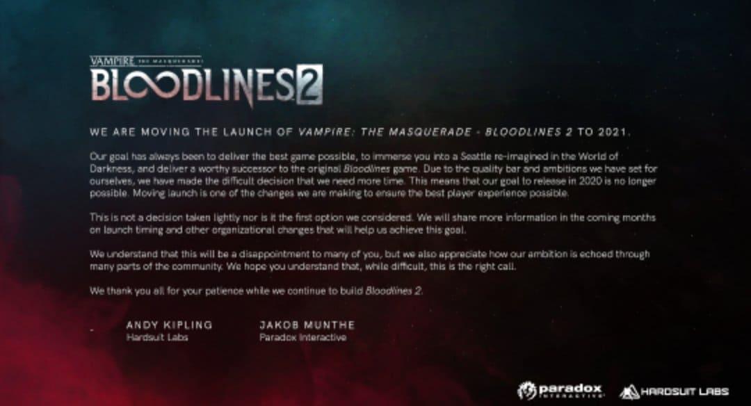 Το Vampire : The Masquerade Bloodlines 2 αναβάλλεται για το 2021