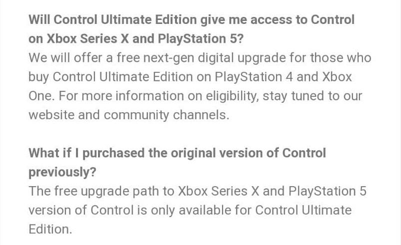 Ανακοινώθηκε η Ultimate Edition του Control, απαραίτητη για την απόκτηση της next gen αναβάθμισης